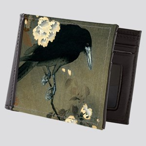 Vintage Japanese Crow and Blossom Wood Mens Wallet