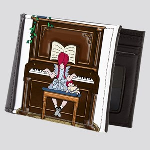 Little Girl Practicing Piano Mens Wallet