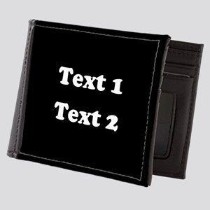 Custom Black and White Text. Mens Wallet
