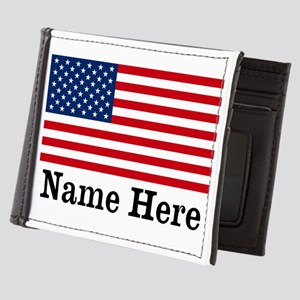 Personalized American Flag Mens Wallet