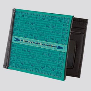 Cross Country Running Collage Blue Mens Wallet