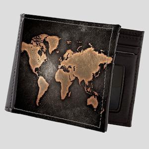 Vintage World Map Mens Wallet