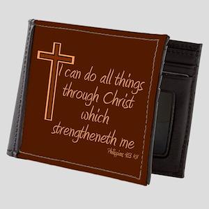 Philippians 4 13 Brown Cross Mens Wallet
