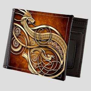 Gold Norse Dragon Mens Wallet