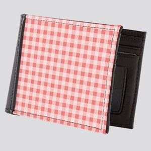 Coral Pink White Gingham Mens Wallet