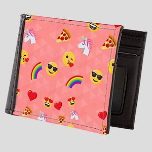 Emoji Pink Pattern Mens Wallet