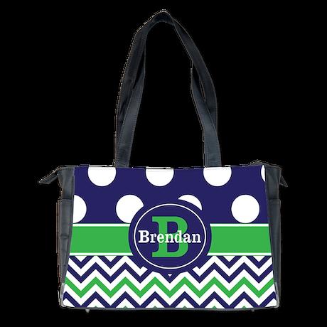 Blue Green Dots Chevron Personalized Diaper Bag
