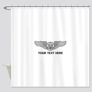 PERSONALIZED ENLISTED AIRCREW WINGS Shower Curtain