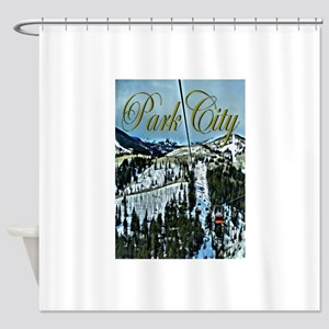 Park City Painted Poster Shower Curtain