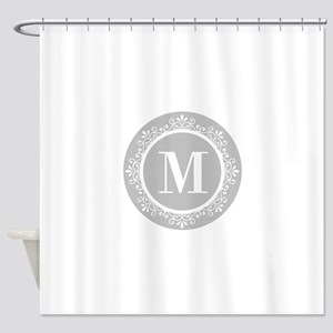 Gray | White Swirls Monogram Shower Curtain
