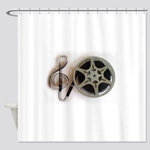 Clef and Film Reel by Leslie Harlow Shower Curtain