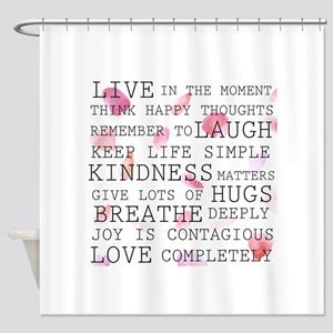 Rose Petals inspirational words Shower Curtain