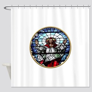 Ressurection of Jesus Stained Glass Window Shower