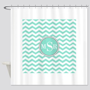 3 Letter Mint Blue-Green Gray Monogram Chevron Sho