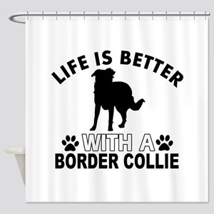 Border Collie vector designs Shower Curtain