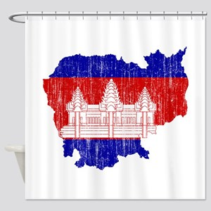 Cambodia Flag And Map Shower Curtain