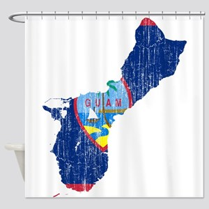 Guam Flag And Map Shower Curtain