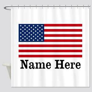 Personalized American Flag Shower Curtain