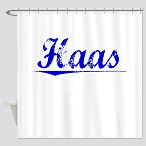 Haas, Blue, Aged Shower Curtain