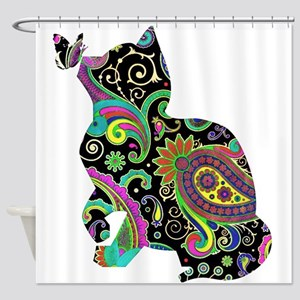 Paisley cat and butterfly Shower Curtain