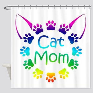"""Cat Mom"" Shower Curtain"