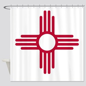 Red Zia NM State Flag Desgin Shower Curtain