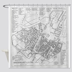 Vintage Map of Stuttgart Germany (1 Shower Curtain
