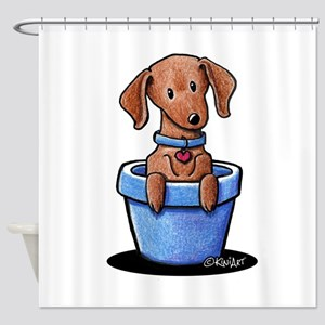 KiniArt Potted Doxie Shower Curtain