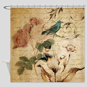 teal bird vintage roses botanical art Shower Curta