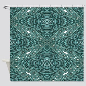 teal turquoise western leather  Shower Curtain