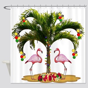 Tropical Christmas Holiday Shower Curtain