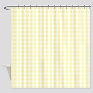Light Pastel Yellow White Gingham Pattern Shower C