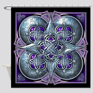Silver & Purple Celtic Tapestry Shower Curtain