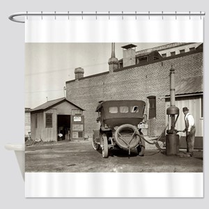 Vintage garage Old Car Shower Curtain