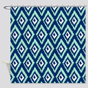 Navy Blue And Green Shower Curtains