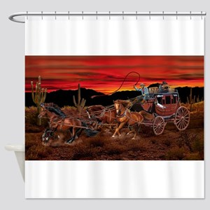 Stagecoach Cowboys Shower Curtain