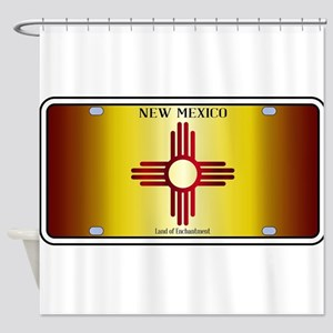 New Mexico Flag License Plate Shower Curtain