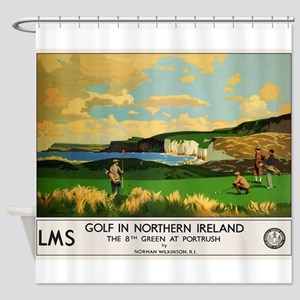 Northern Ireland, Golf, Vintage Poster Shower Curt
