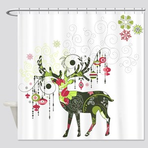 Abstract Decorated Christmas Elk Shower Curtain