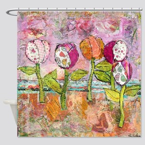 Joyful Tulips Bathroom Shower Curtain