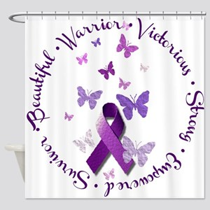 Purple Ribbon with Empowering Words Shower Curtain