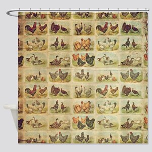 Vintage Barnyard Birds Shower Curtain