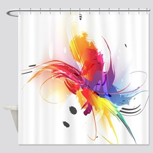 Abstract Paint Splatter Shower Curtain