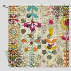 Bohemian Boho Flowers Shower Curtain