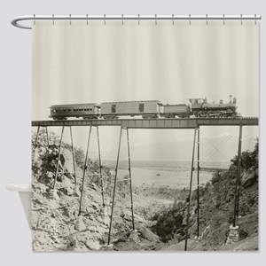 Train Crossing High Bridge Shower Curtain