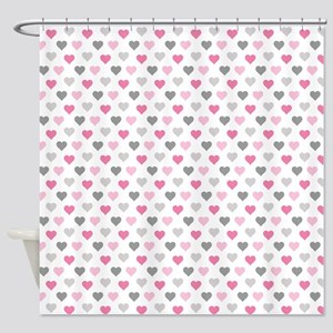 Pink And Grey Hearts Shower Curtain