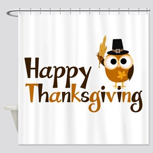 Happy Thanksgiving Owl Shower Curtain