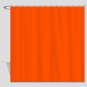 Neon Orange Solid Color Shower Curtain