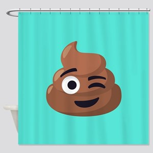 Winking Poop Emoji Shower Curtain