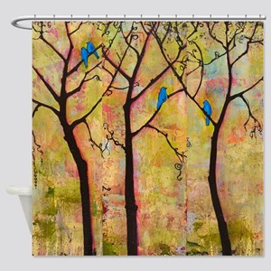 Bluebirds in Trees Shower Curtain